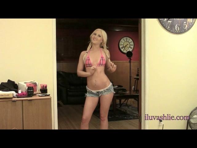 Bikini top and jean shorts